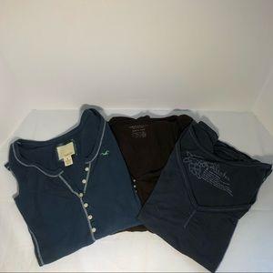 three vintage women's long and short sleeve tees